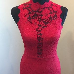 Sexy Red Lacy Fitted Dress